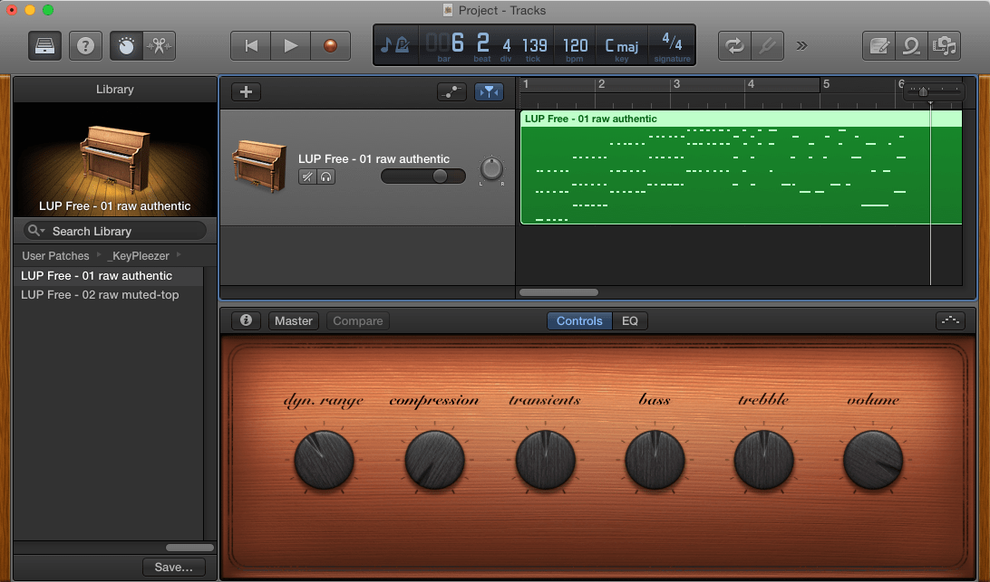 Free Edition of the LivingRoom Upright Piano - view of user interface of smart controls for GarageBand and Logic Pro X