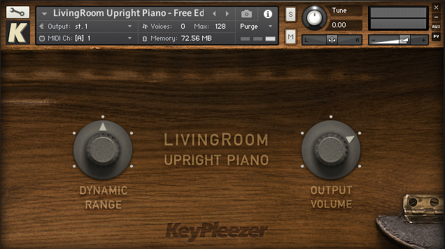 Free Edition of the LivingRoom Upright Piano - view of user interface in Kontakt Sampler